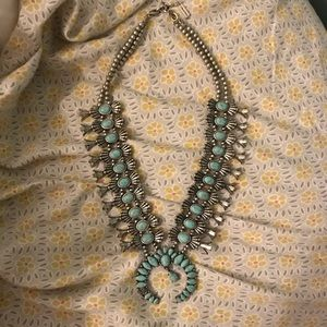 BaubleBar Turquoise Squash Blossom Necklace